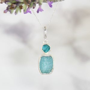 Aquamarine And Apatite Natural Gemstone Handmade Sterling Silver Pendant