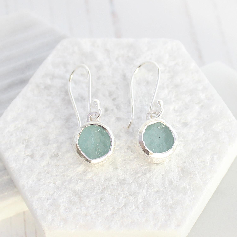 Aquamarine Gemstone Earrings: Unique Handmade Ladies Earrings Set With Rough Cut