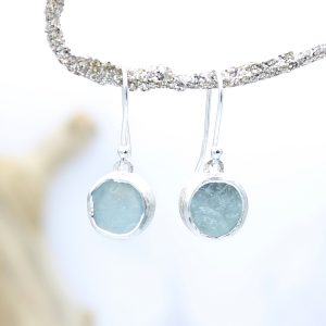 Aquamarine Gemstone Handmade Sterling Silver Ladies Earrings