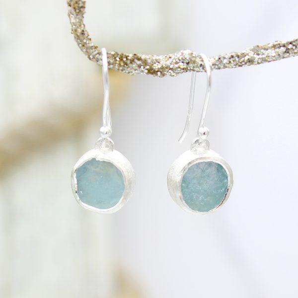 Aquamarine Gemstone Handmade Sterling Silver Ladies Earrings