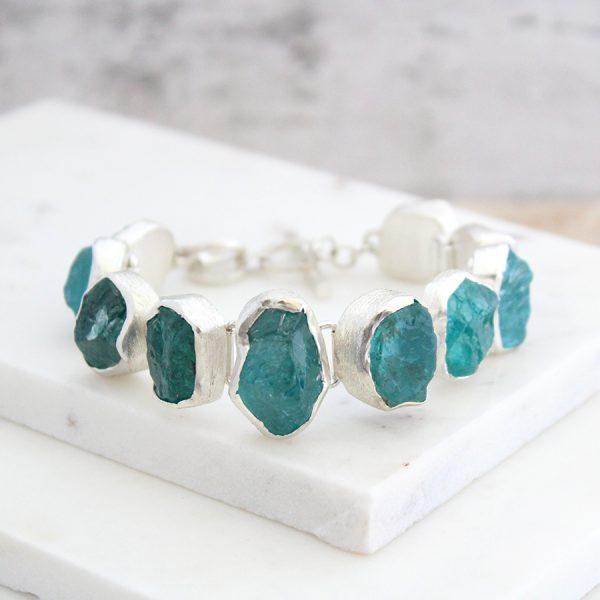 Apatite Natural Gemstone Designer Ladies Chunky Silver Bracelet