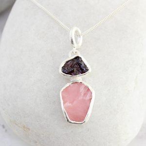 Pink Opal And Rhodolite Gemstone Handmade Ladies Silver Pendant