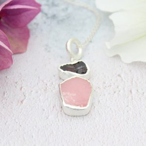 Pink Opal And Rhodolite Gemstone Handmade Ladies Silver Pendant
