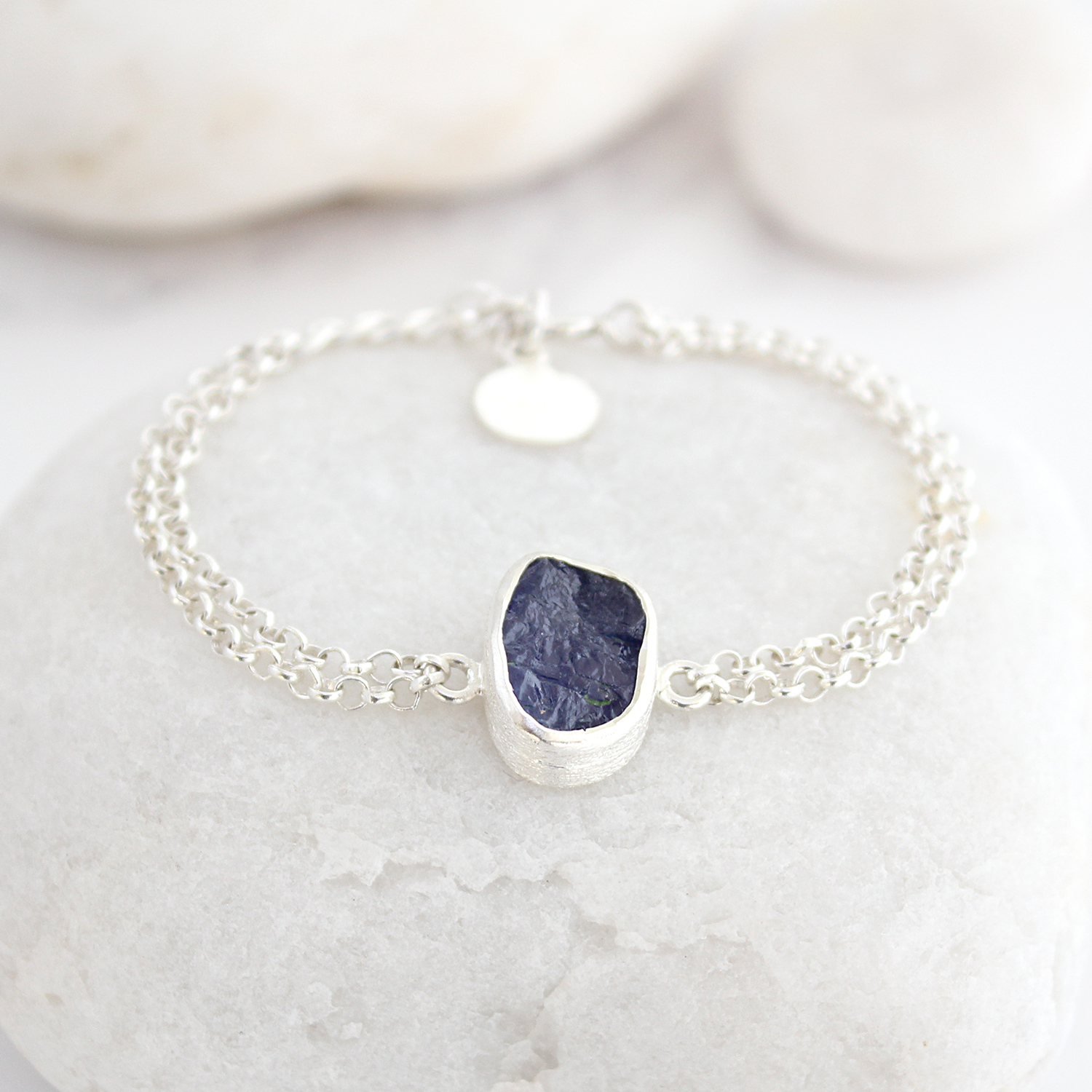 rondels blue chain on out with violett white gold front double sold bracelet facetted tanzanite