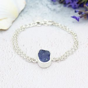 Tanzanite Single Gemstone Handmade Sterling Silver Ladies Bracelet