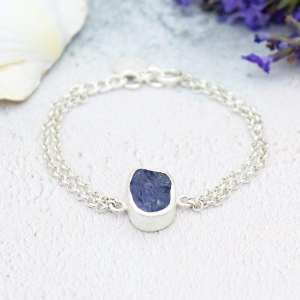 Tanzanite Single Gemstone Handmade Sterling Silver Ladies Bracelet