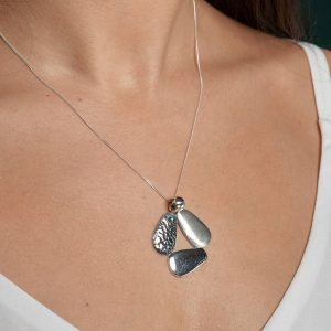 Coastal Three Pebble Textured Sterling Silver Pendant