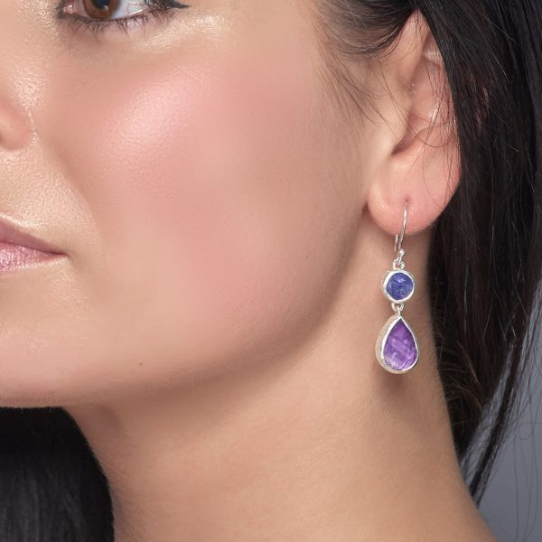 Handmade Amethyst and Tanzanite Gemstone Sterling Silver Ladies Earrings