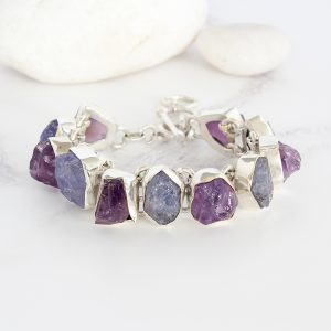 Amethyst & Tanzanite Gemstone Chunky Sterling Silver Ladies Bracelet