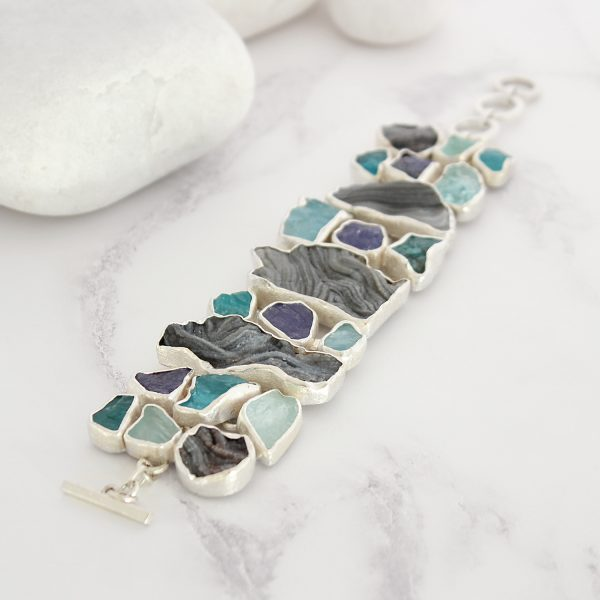 Handmade Ladies Aquamarine, Apatite, Tanzanite & Drusy Gemstone Statement Bracelet