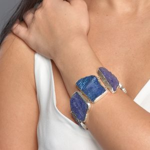 Handmade Designer Natural Tanzanite Gemstone Sterling Silver Ladies Bracelet