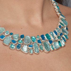 Aquamarine And Apatite Gemstone Sterling Silver Ladies Statement Necklace