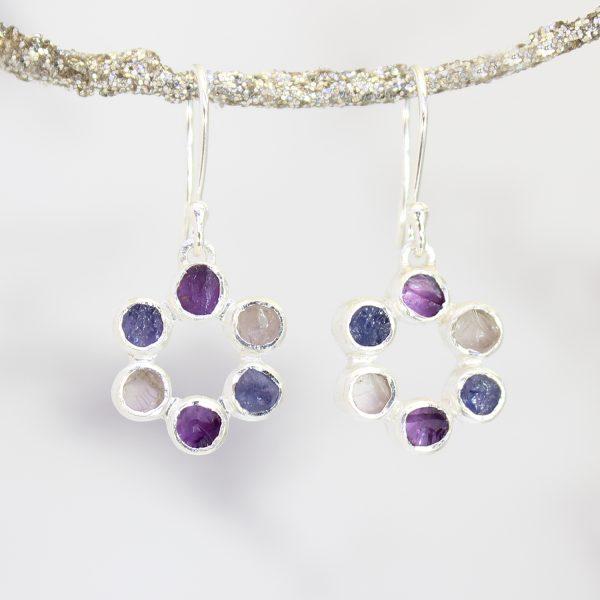 Amethyst, Tanzanite and Tourmaline Gemstone Handmade Silver Ladies Earrings