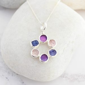 Amethyst,Tanzanite And Tourmaline Circle Of Stones Sterling Silver Ladies Pendant
