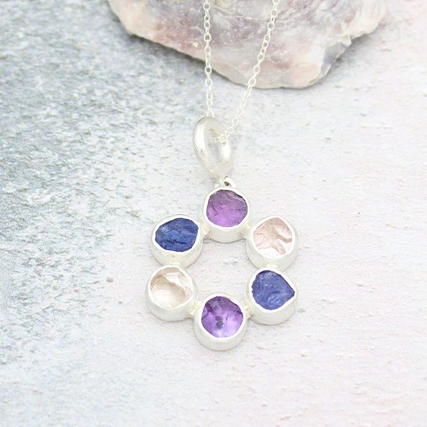 Amethyst, Tanzanite and Tourmaline Circle Of Stones Sterling Silver Ladies Pendant
