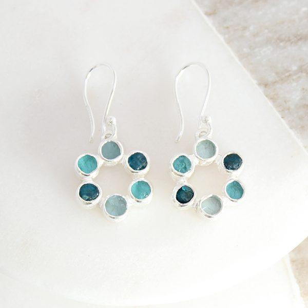 Aquamarine and Apatite Gemstone Handmade Silver Ladies Earrings
