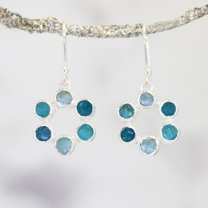Aquamarine and Apatite Gemstone Handmade Silver Ladies Earrings