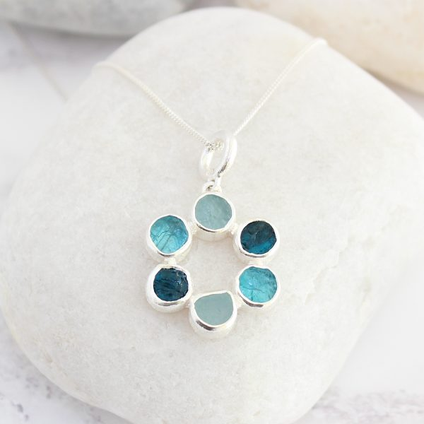 Aquamarine And Apatite Circle Of Stones Sterling Silver Ladies Pendant