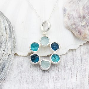 Aquamarine And Apatite Circle Of Stones Sterling Silver Ladies Pendant