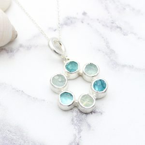 Circle of Stones Aquamarine and Apatite Pendant