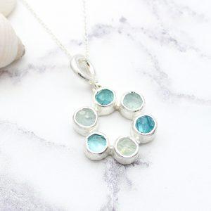 Circle of Stones Aquamarine and Apatite Pendant