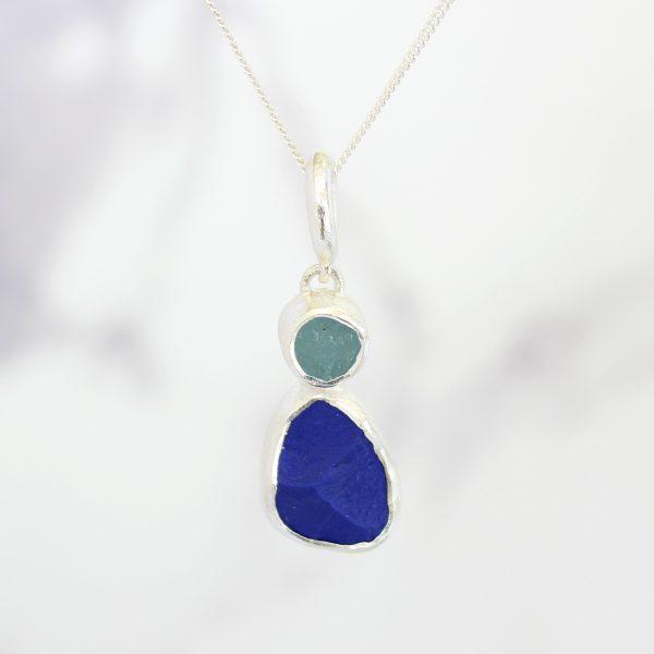 Aquamarine And Lapis Lazuli Gemstone Ladies Silver Pendant
