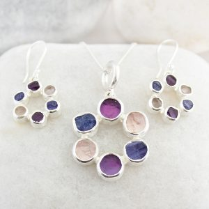 Circle of Stones Amethyst,Tanzanite and Tourmaline Pendant and Earrings Set
