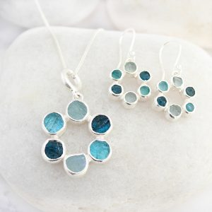 Circle of Stones Aquamarine and Apatite Pendant and Earrings Set