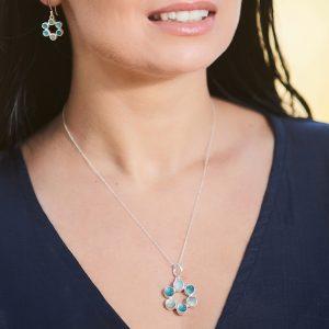 Circle of Stones Aquamarine and Apatite Pendant and Earrings Set