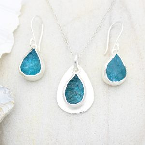 Coastal Apatite Gemstone Silver Ladies Pendant and Earrings Set