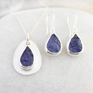 Coastal Tanzanite Gemstone Silver Ladies Pendant and Earrings Set