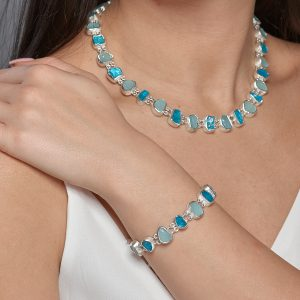 Aquamarine and Apatite Gemstone Necklace & Bracelet Set - Made to Order