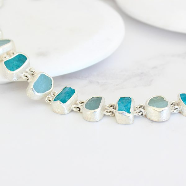 Aquamarine and Apatite Gemstone Handmade Sterling Silver Ladies Necklace Made to Order
