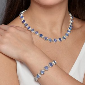 Tanzanite Gemstone Ladies Necklace & Bracelet Jewellery Set - Made to Order