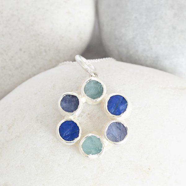 Aquamarine Lapis Lazuli & Tanzanite Circle Of Stones Sterling Silver Ladies Pendant