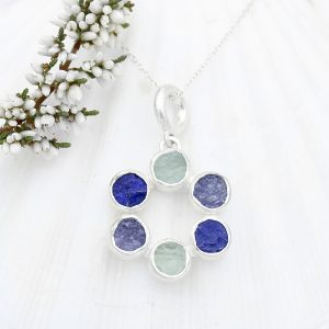 Aquamarine Lapis Lazuli & Tanzanite Circle Of Stones Sterling Silver Ladies Pendant
