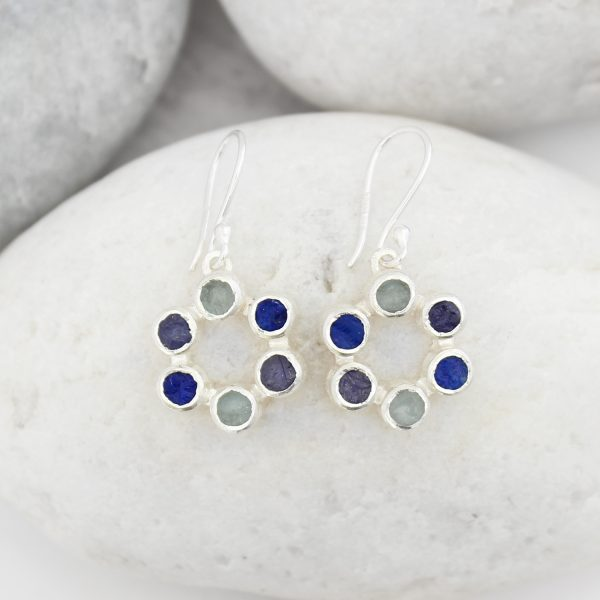 Aquamarine, Lapis Lazuli and Tanzanite Gemstone Handmade Ladies Silver Earrings