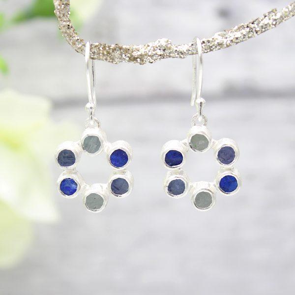 Aquamarine, Lapis Lazuli and Tanzanite Gemstone Handmade Ladies Silver Earrings