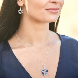 Circle of Stones Aquamarine, Lapis Lazuli & Tanzanite Pendant and Earrings Set