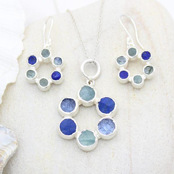 Circle of Stones Aquamarine, Lapis Lazuli & Tanzanite Pendant and Earrings Set