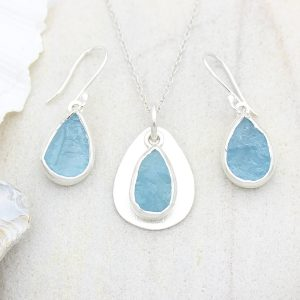 Coastal Aquamarine Gemstone Silver Ladies Pendant and Earrings Set