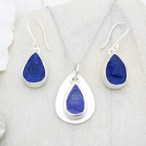 Coastal Lapis Lazuli Gemstone Silver Ladies Pendant and Earrings Set