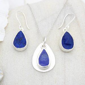 Coastal Lapis Lazuli Gemstone Silver Ladies Pendant and Earrings Set
