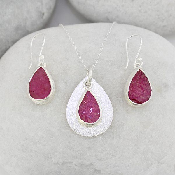 Coastal Ruby Gemstone Silver Ladies Pendant and Earrings Set