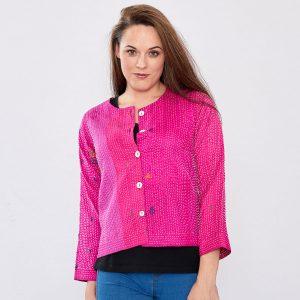 Pink Hand Stitched Silk Sari Ladies Jacket