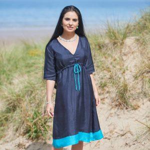 Pure Silk Navy & Turquoise Ladies Dress