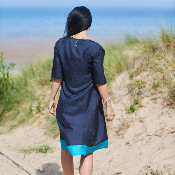 Pure Silk Navy & Turquoise Ladies Dress