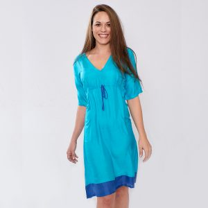 Pure Silk Turquoise & Lapis Ladies Dress