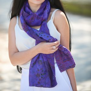 Purple Handstitched Recycled Silk Scarf