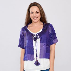 Purple Pure Silk Hand Stitched Ladies Cover-up